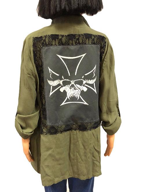 Ladies Army Green Lightweight Utility Jacket