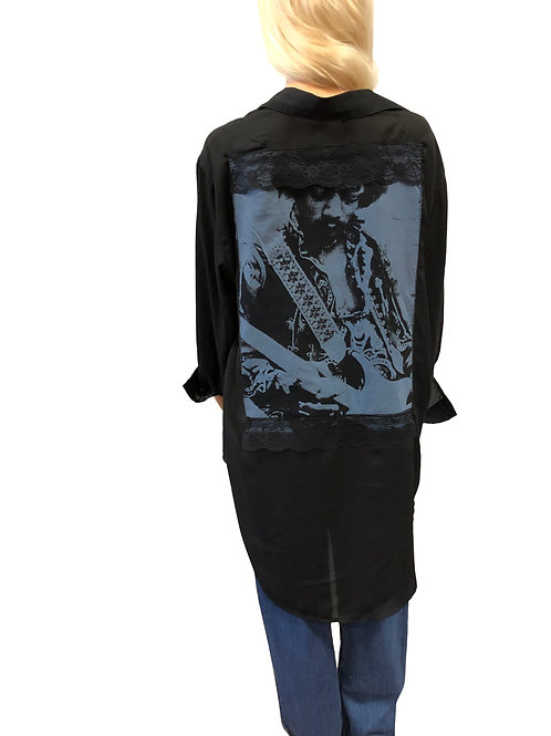 Sheer High/Low Button Up Shirt