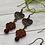 Thumbnail: Red Czech Flower Earrings with Copper Heart