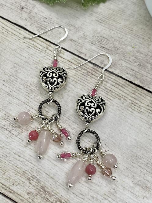 Puffy Heart Dangly Antique Earrings
