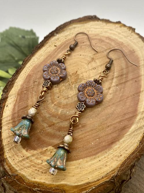 Elegant Czech Flower Bead Earrings