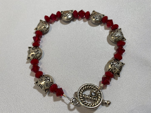 Smiling Kitty Bracelet (red)