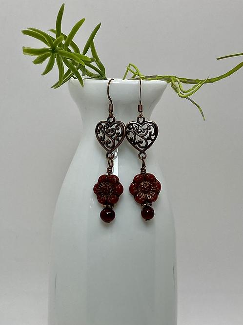 Red Czech Flower Earrings with Copper Heart