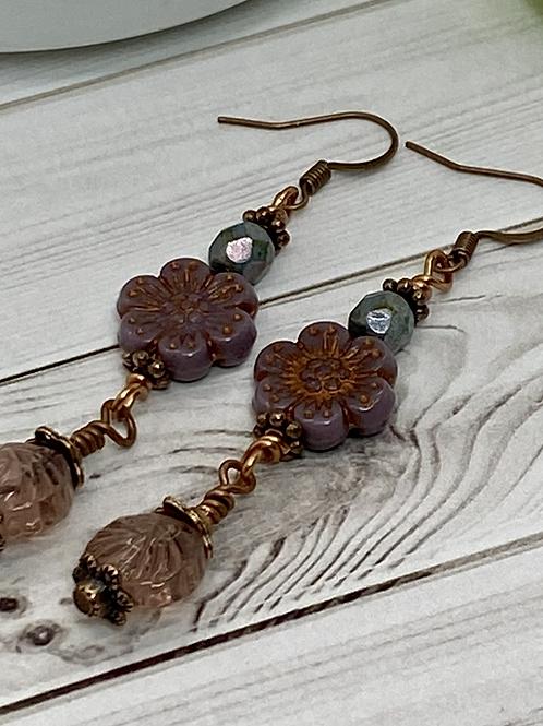 Lovely Rose Czech Flower Earrings