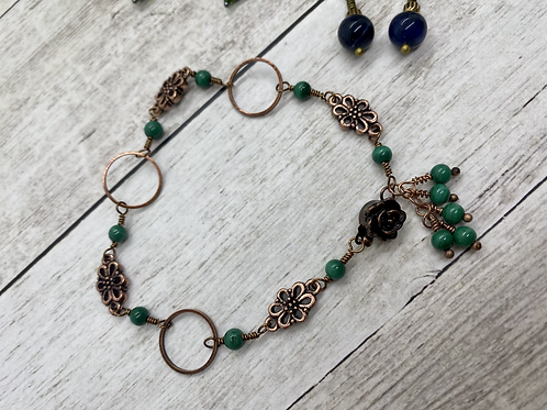 Antique Copper and Malachite Bracelet