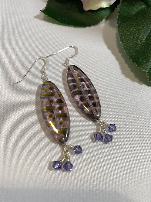 Geometric Long Lavender Earrings