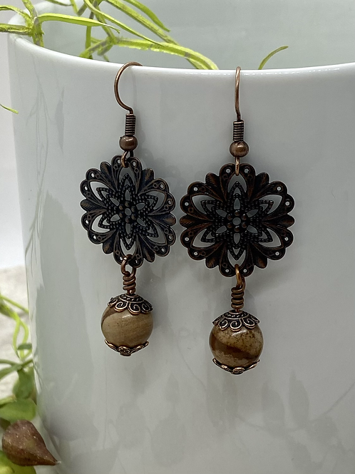Antique Copper Filigree with Jasper Earrings