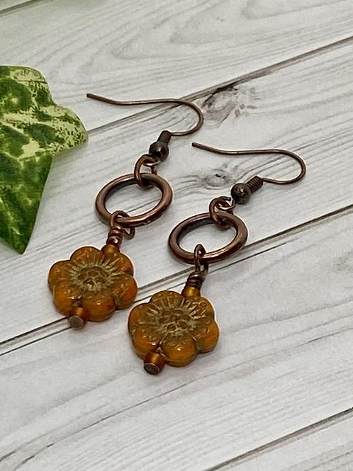 Orange Czech Flower Earrings