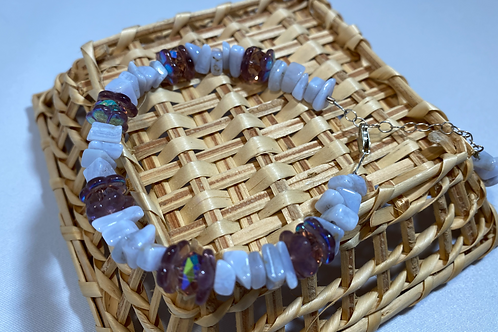 Lavender Chip and Crystal Bracelet