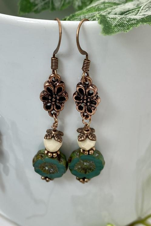 Teal Czech Flower Earrings with Antique Copper