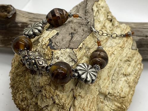 Vintage Beaded Bracelet (Brown)
