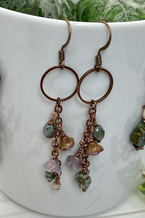 Open Circle Czech Flower Dangly Earrings