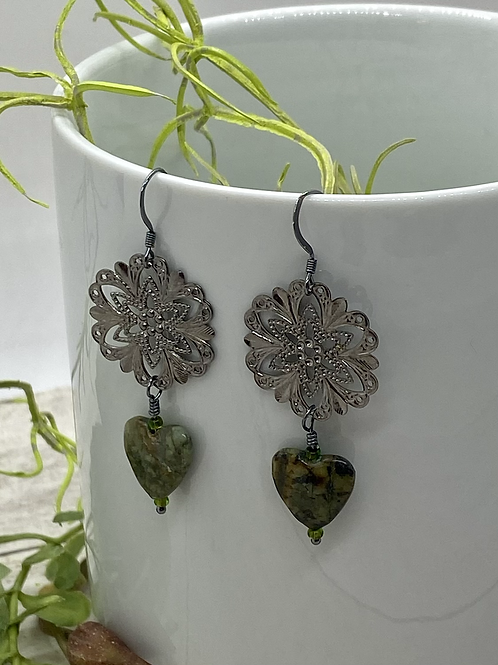 Oxidized Silver with Rhyolite Hearts Earrings