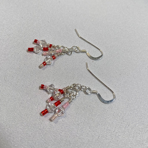 Red and Pink Wire Wrapped Earrings