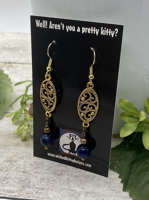 Antique brass and sodalite Earrings