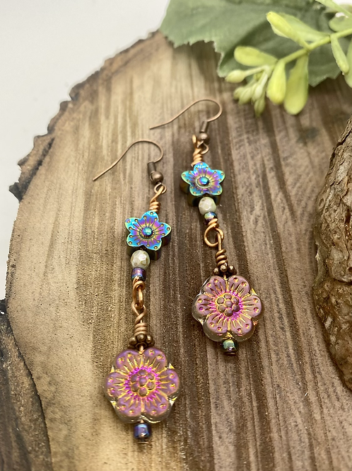 Pink Irridescent Czech Flower Earrings