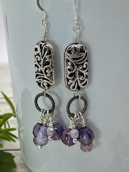 Shades of Purple Dangly Earrings