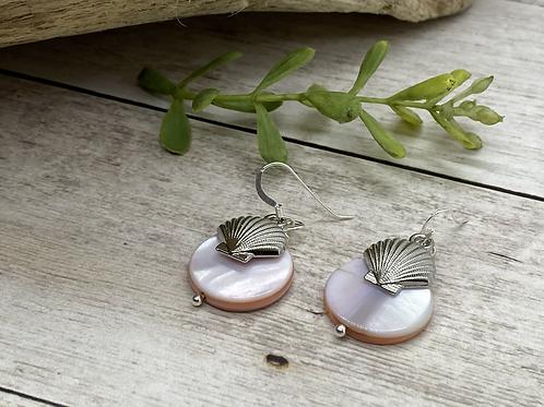 Pink Pearl Scallop Earrings