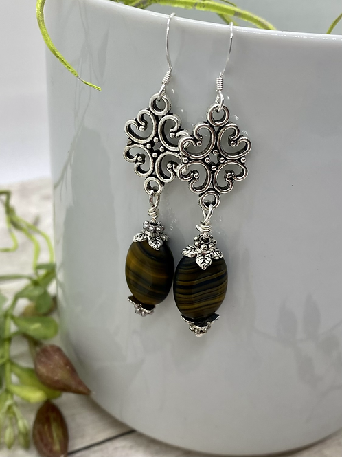 Antique Silver and Brown Glass Earrings
