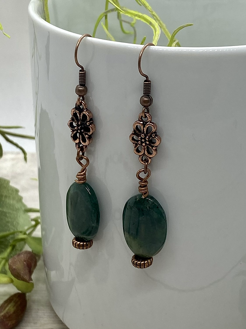 Antique Copper and Amazonite Earrings