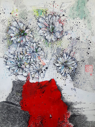 DAISIES IN RED POT