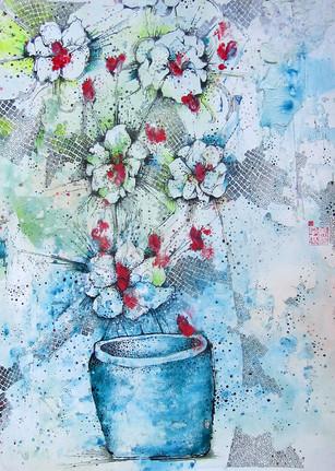 FLOWERS IN BLUE POT