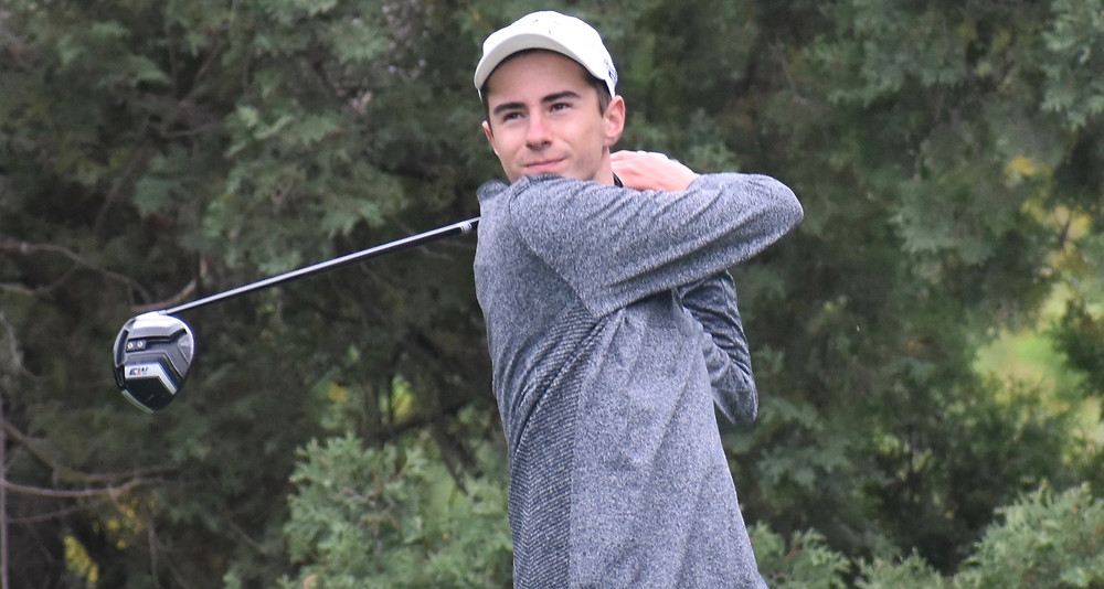 Alex Mauro blasts a drive during his victory at Forest Akers.