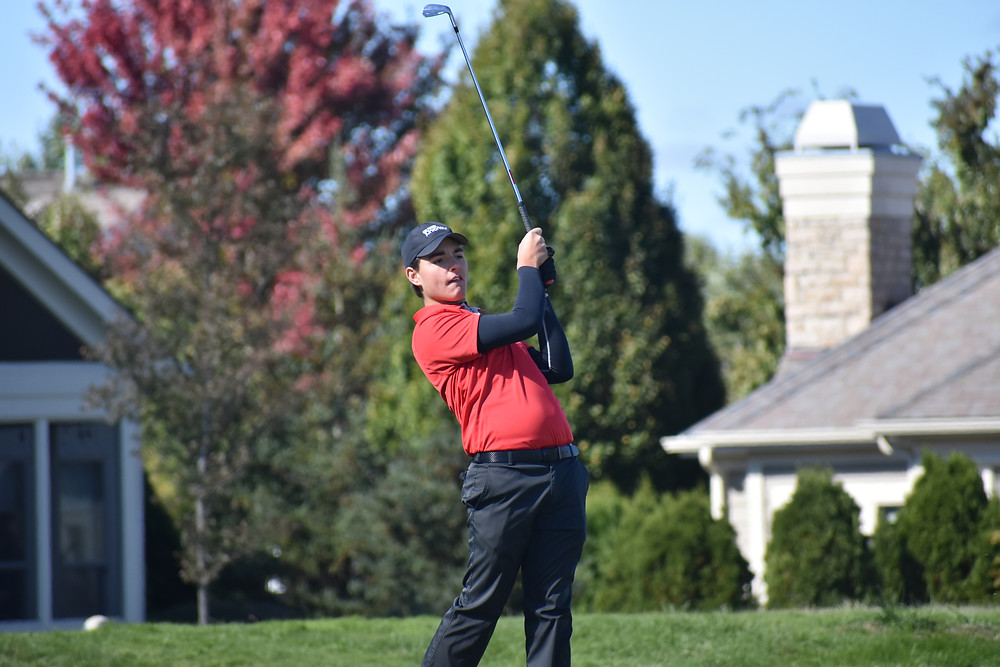 Drew Salyers poses after a shot during his victory at the Golf Club of Dublin.