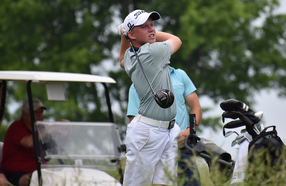 Maxwell Moldovan blasts a drive during his victory Monday at UK's Big Blue Course.