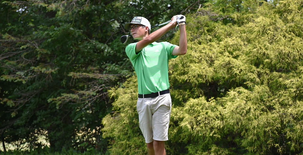 Daniel Love hits a drive during his victory at Hueston Woods.
