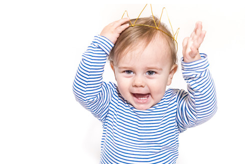 blond toddler by with crown happy by fle