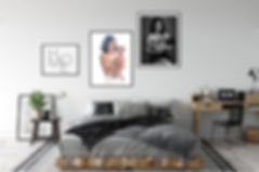family portrait framed wall art collection in bedroom nyc