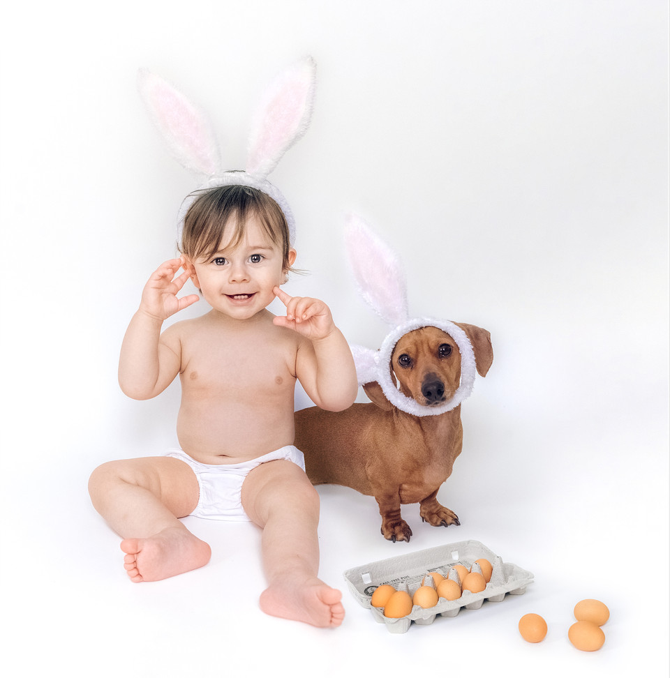 easter card baby with dachshund dog by f