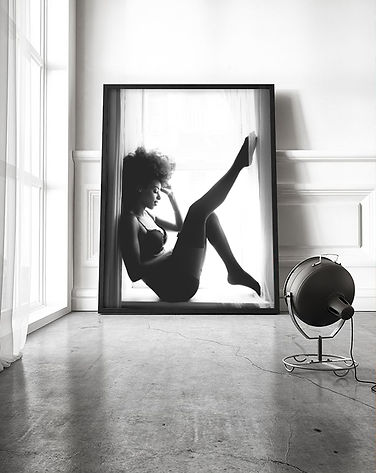black and white enlargement portraitprinted wall art boudoir photographer