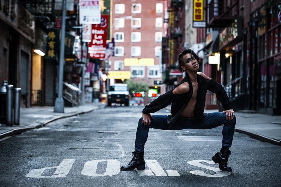 editorial portrait of dancer in chinatow