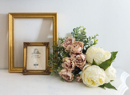 vintage gold frames and peonies