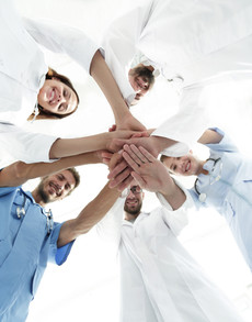 bottom view.a team of doctors at the med