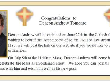Congratulations Deacon Andrew! Welcome Deacon Nicholas Toledo & Gustavo Santos!!