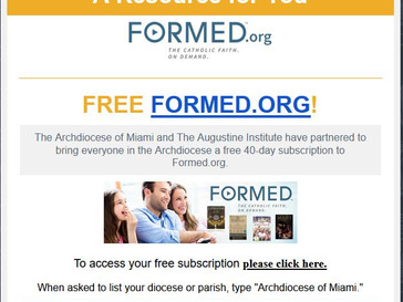 A Special Gift from the Archdiocese of Miami to Help Feed Your Soul During this Time: Complimentary