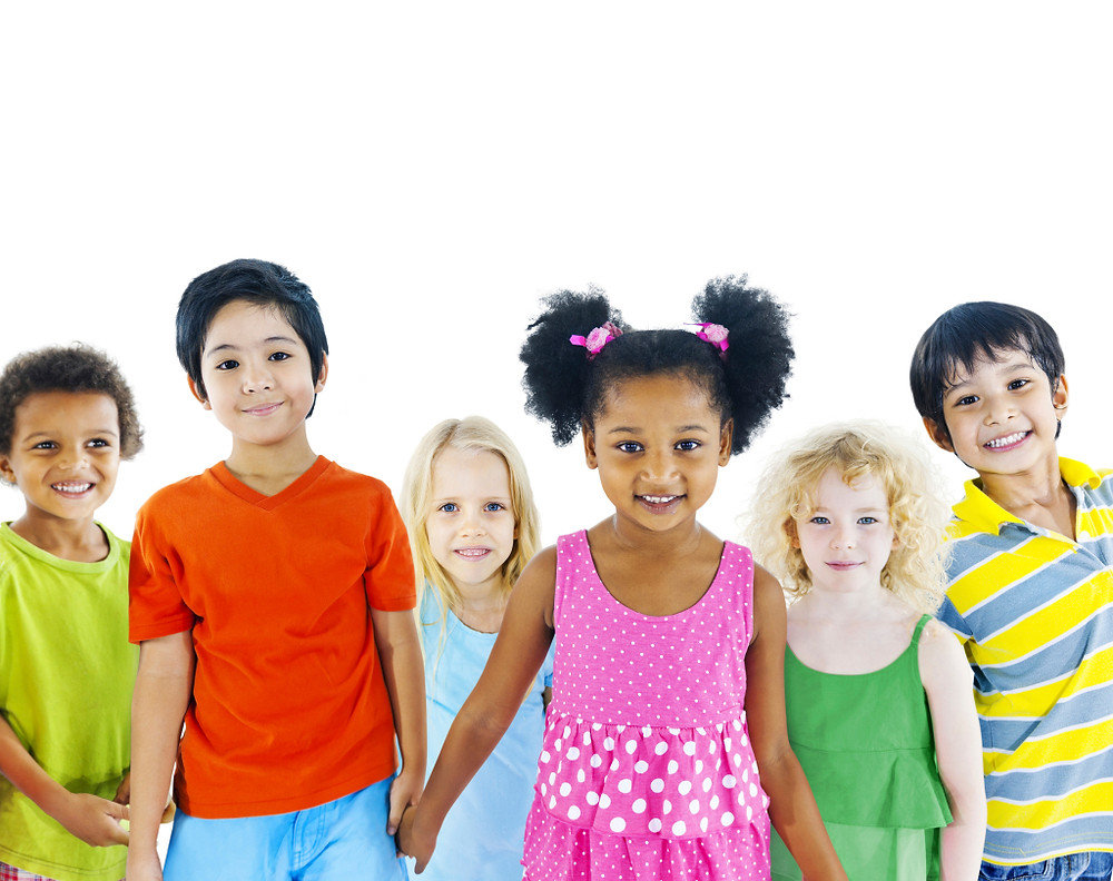 Diverse kids holding hands