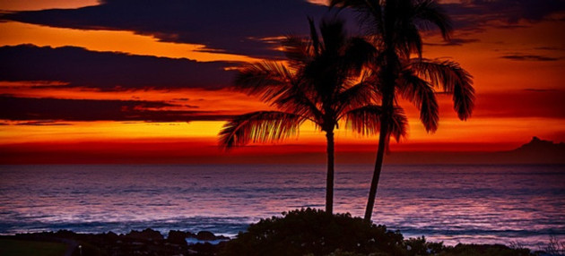 Hawaiian beach at sunset