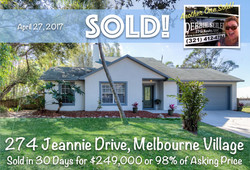 274 Jeannie Sold in Melbourne Villag