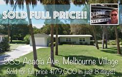 585 Acacia Sold in Melbourne Village