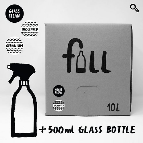 Stál & glerhreinsir 10L + flaska