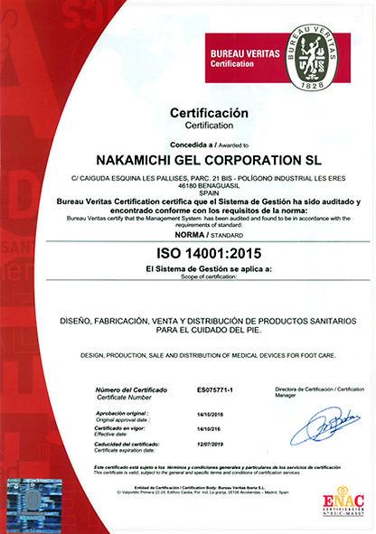 Certificado Bureau Veritas Nakamichi Gel ISO 14001