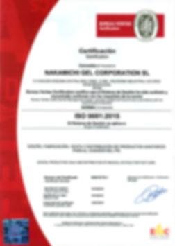 Certificado Bureau Veritas Nakamichi Gel ISO 9001