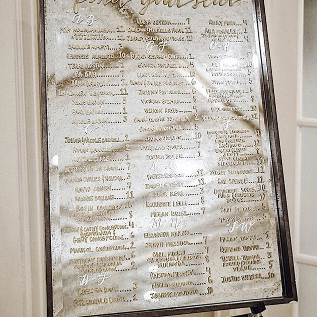 Wedding mirror seating chart