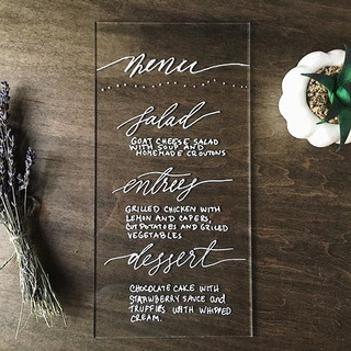 Wedding place setting menu