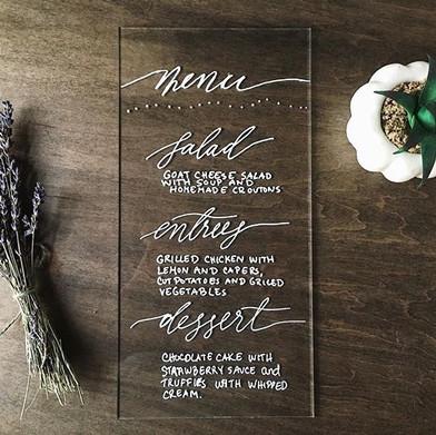 Wedding place setting menu