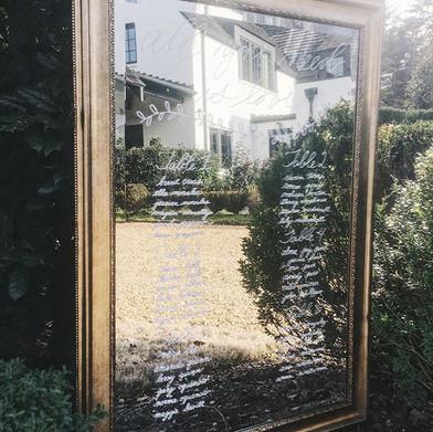 Wedding mirror seating chart